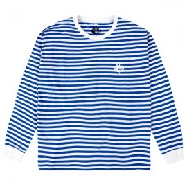 MAGENTA Striped Plant L/S Tee Blue & White Large